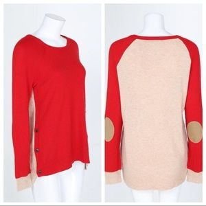 J Crew side button elbow patch sweater